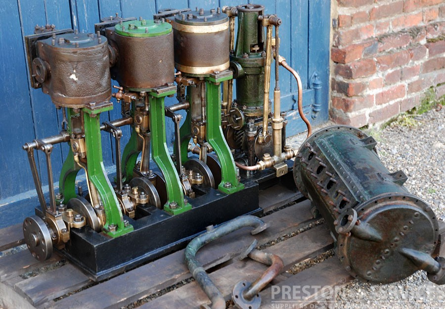 3 cylinder steam launch engine condenser and feed pumps for Outboard motor cylinder boring