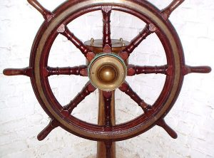HASTIE & Co. Ships Wheel & Pedestal