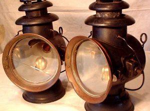 'DIETZ' STEAM WAGON LAMPS, PAIR