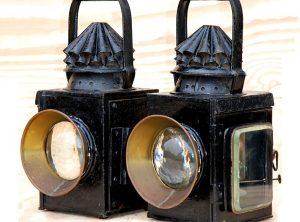 ELI GRIFFITHS OIL LAMPS, Pair