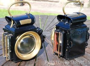 OLDFIELD 'DEPENDENCE' Spring Traction Engine Lamps, Pair
