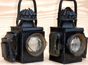G. THURLOW Sprung Oil Lamps, Pair