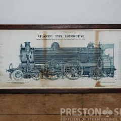 ATLANTIC TYPE LOCOMOTIVE  13 1/2″ x 3 Ft Framed Print