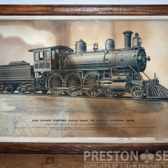 BALDWIN 4-6-0 EXPRESS LOCOMOTIVE 12 1/2″ x 20″ Framed Print