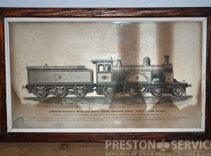 "N.E.R. COMPOUND EXPRESS LOCOMOTIVE 12½"" x 20″ Framed Print"