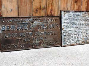 RAILWAY WARNING LNWR Cast Iron Signs