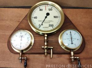 Pressure Gauge Board 3x Gauges, BOURDON, DANKS, SCHAEFFER
